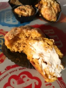 A recipe for tasty savoury pumpkin muffins with a crispy cheddar topping. Perfect for a quick teatime snack with delicious autumn flavours.