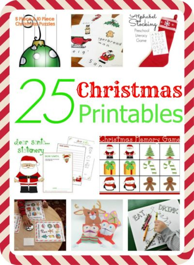 25 Christmas printables for preschoolers and up including Christmas puzzles and worksheets, printable Christmas games and Christmas colouring sheets.