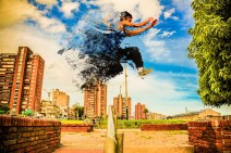 woman doing parkour