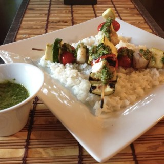 Cod & Vegetable Skewers with Basil Chimichurri