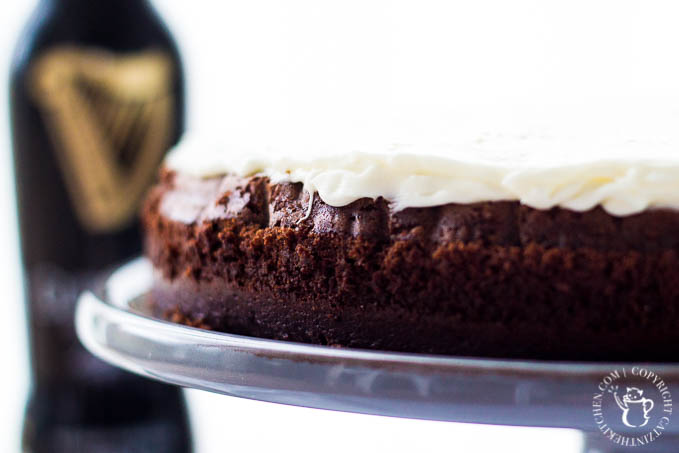 This Chocolate Guinness Cake is a rich, creamy dessert recipe infused with classic Irish stout. Try it this St. Patrick's Day!