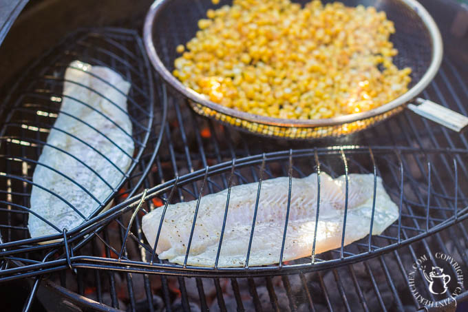 Once the fish is on the grill, give it about three minutes on each side. Each of the suggested fish fillets is quite thin, so six minutes total will about do it every time.