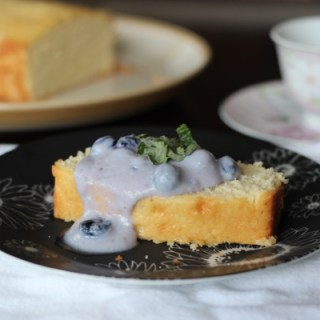 Almond Pound Cake with a Whipped Ricotta Blueberry Topping