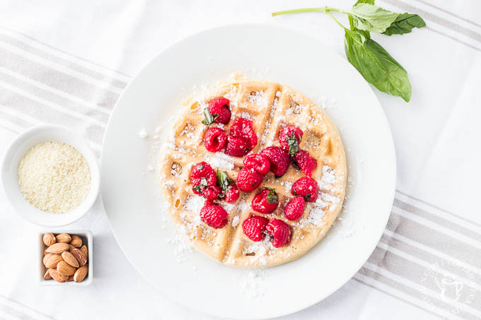 Almond Waffles with Raspberry Basil Sauce | Catz in the Kitchen | catzinthekitchen.com | #berries #almond #waffles #recipe