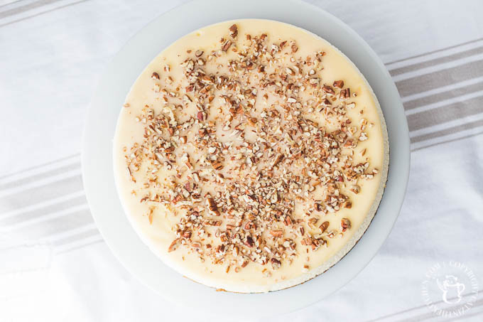 Need a beautiful, delectable, festive make-ahead dessert recipe this holiday? How about some creamy carrot cheesecake topped with pecans?