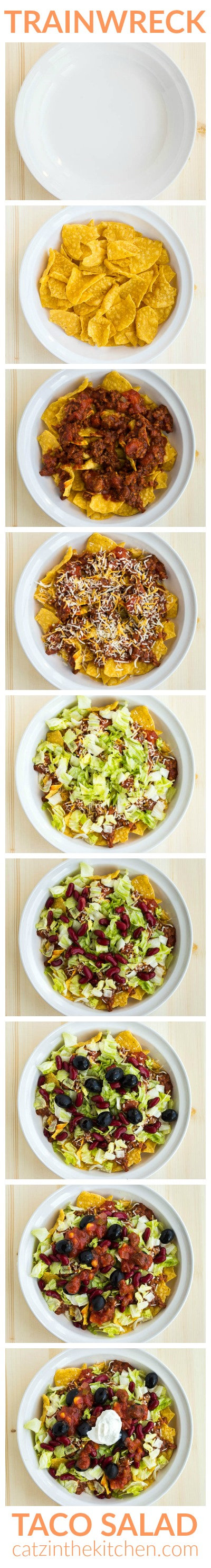 Trainwreck Taco Salad   Catz in the Kitchen   catzinthekitchen.com   #trainwreck #salad #taco #recipe