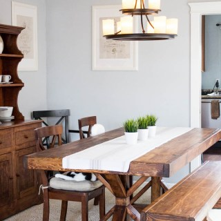 DIY Farmhouse Formal Dining Table