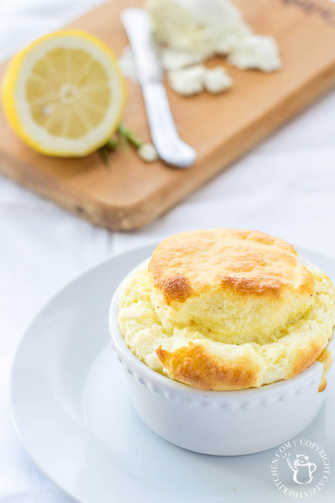 "Try something ""gourmet"" with this chive & goat cheese soufflé! You'll love the flavors...and having something different for breakfast, lunch, or dinner!"