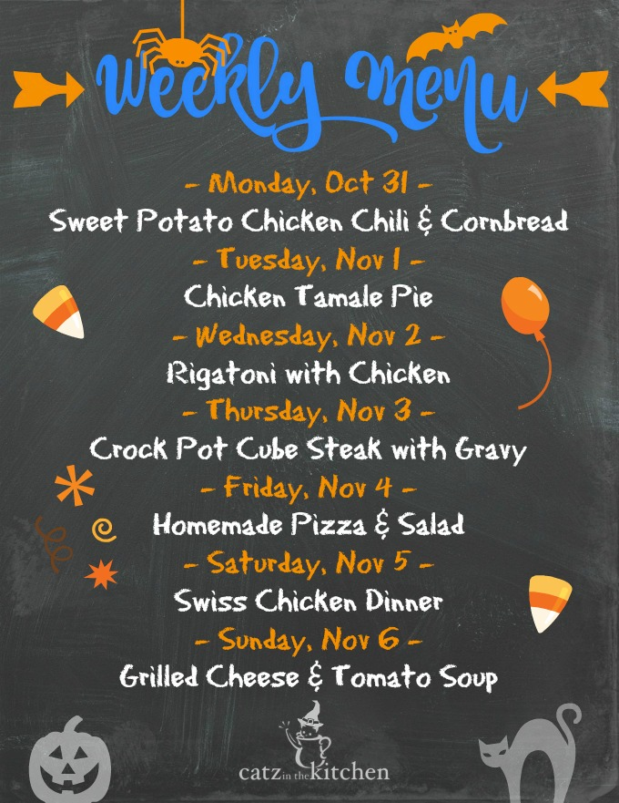 Weekly Menu for the Week of Oct 31
