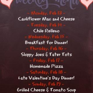 Weekly Menu for the Week of Feb 13th