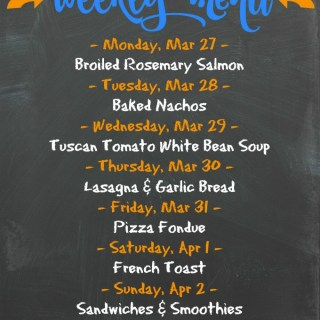Weekly Menu for the Week of March 27th