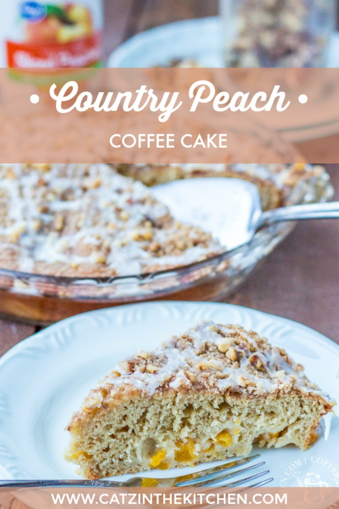 Warm, homey, and just a little bit indulgent, this Country Peach Coffee Cake is an easy to make treat in and out of peach season!