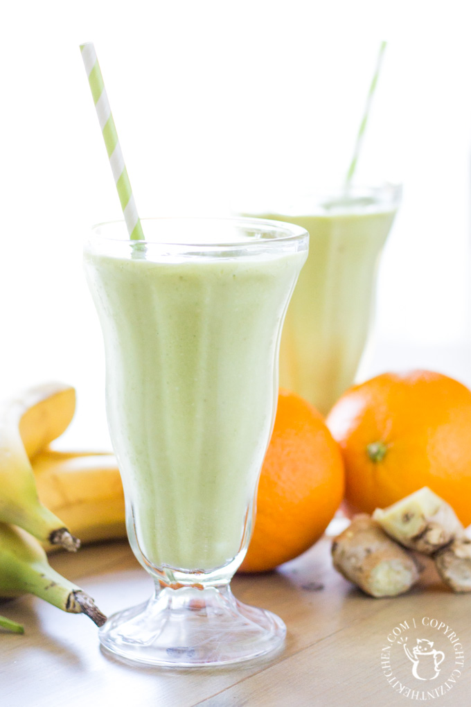One of our favorite smoothie standbys, what we call the Sunday Morning Smoothie - orange, banana, ginger, mango, pineapple, spinach, coconut, and more!