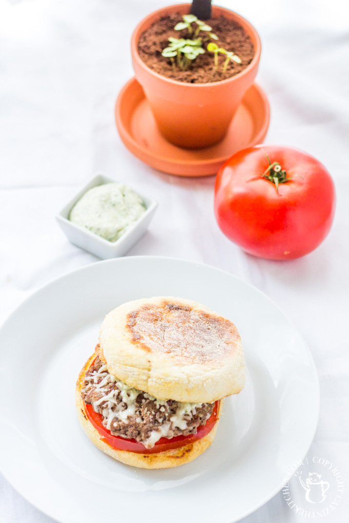 These Basil Garlic Burgers are easy to make and packed with flavor! Plus, when you serve them on an English muffin, they are cute and fun to eat!