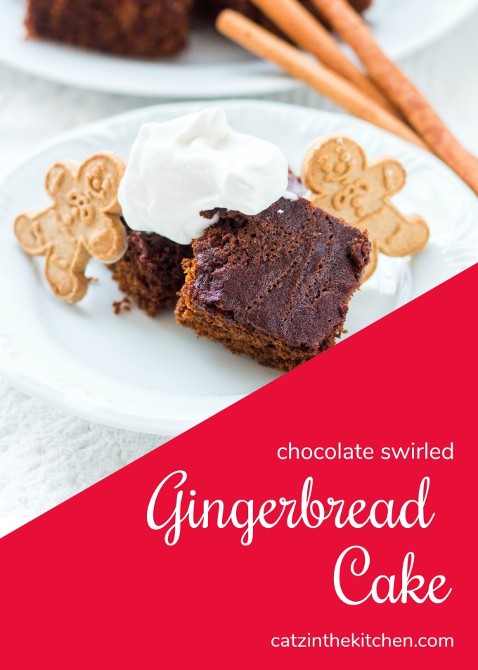 A little bit cake, a little bit brownie, and a whole lotta festive flavor - this recipe for Chocolate Swirled Gingerbread Cake is an easy holiday delight!