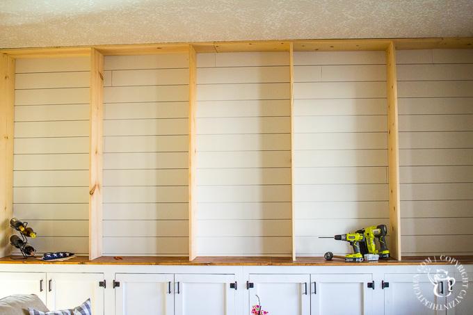 built-in shiplap bookshelf