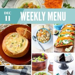 Weekly Menu for the Week of Dec 11th