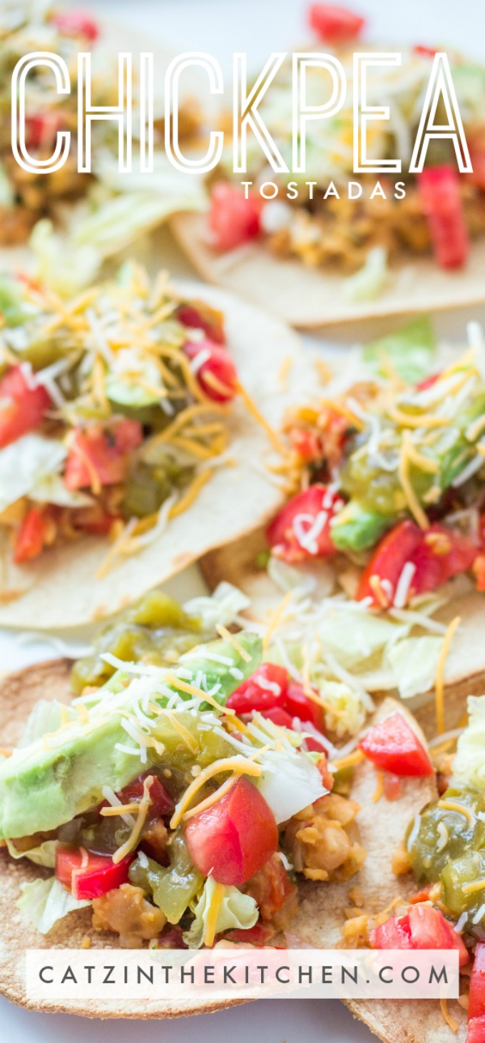 These tasty chickpea tostadas aren't just easy to make and ready in 30 minutes, they're also vegetarian and pretty dang healthy!