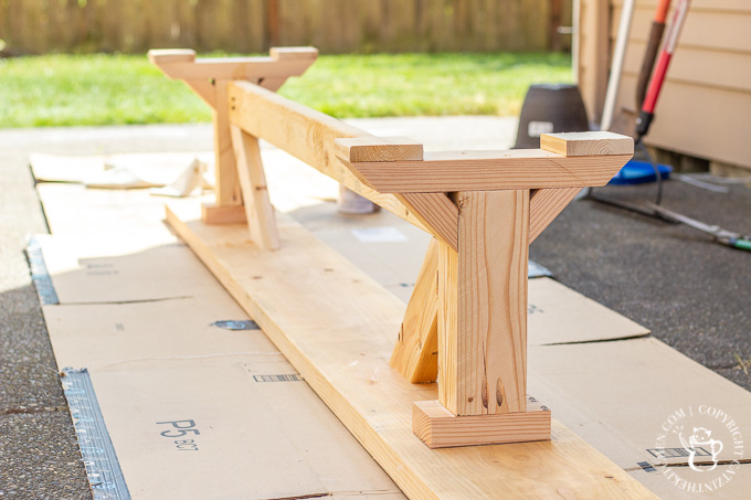 After seeing the farmhouse tables outside in Waco, we decided to try building our own Magnolia Silos Outdoor Table. It's a pretty simple DIY project!
