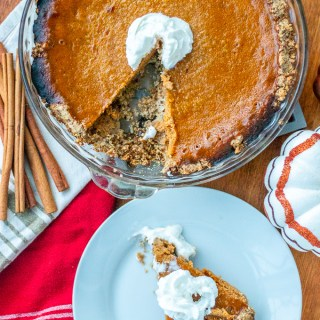 This easy pumpkin custard pie is flavored with cinnamon, cloves, and allspice - which gives it all kinds of warm, fall flavors.