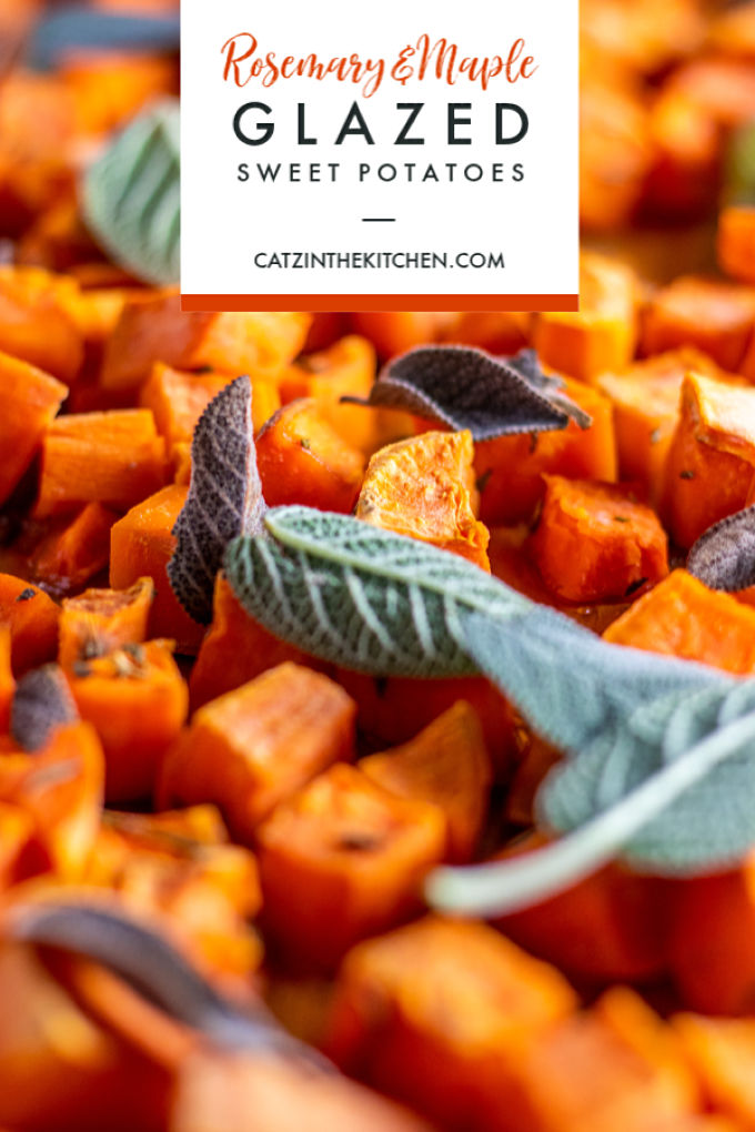 These Rosemary & Maple Glazed Sweet Potatoes are simple, tasty, and pair with lots of different main dishes. Our new favorite way to eat sweet potatoes!