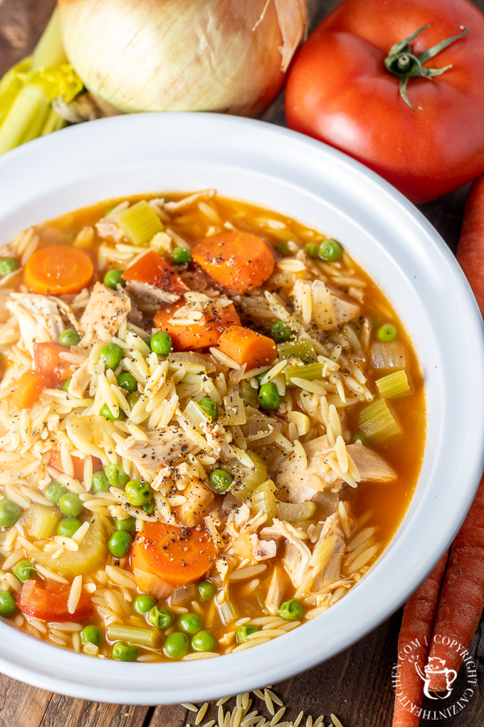 "Let your pantry come to your rescue with this easy minestrone chicken noodle soup - this ""hybrid"" recipe is warm, hearty, and on the table in 30 minutes!"