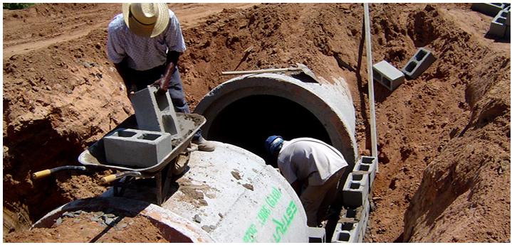 serviço de redes de agua e esgoto