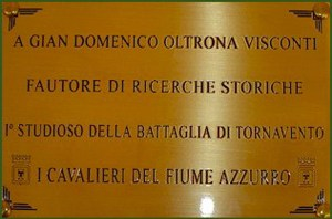 La Targa affissa nella sala principale della Sede del Parco Ticino, presso la Dogana Austro - Ungarica