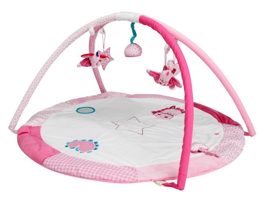 tapis d eveil rond pollie rose avec