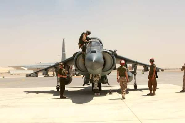 AV-8B Harriers with Marine Attack Squadron 513, deployed out of Marine Corps Air Station Yuma, Ariz., rest at Kandahar Airfield, Afghanistan VMA-513 United States us missiles pgm carrier (1)