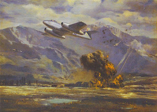 Não sendo páreo para os MiGs, o 77º Esquadrão da RAAF passou a executar somente missões de ataque ao solo (Concepção artística: no77.squadronassociation.org)
