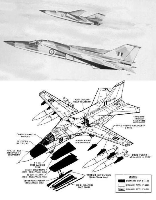"""Após o cancelamento do TSR2, a RAF comprou 46 F-111K. Em 1968 eles foram cancelados, pois estavam """"muito"""" caros. Duas aeronaves já haviam sudo produzidas e acabaram nas mãos da USAF que as utilizaram somente para testes. (Concepção artística: kampfgruppe144.com)"""