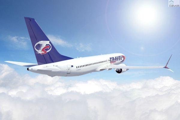 Concepção artística de um Boeing 737 MAX 8 nas cores da Travel Service. (Foto: Boeing)