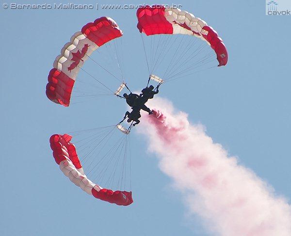 A equipe de paraquedismo Skyhawks. (Foto: Bernardo Malfitano / Cavok)