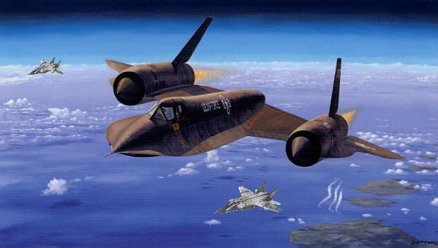 Interceptadores MiG-31 se aproximam de um SR-71. (Montagem: Giordani)