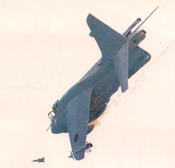 À tarde do dia 1° de maio, Sea Harriers da Grã-Bretanha e Mirages da Argentina entraram em combate nos céus. A ilustração mostra o aparelho do tenente-aviador Paul Barton disparando uma salva de canhão contra um Mirage que acabou de passar por ele.