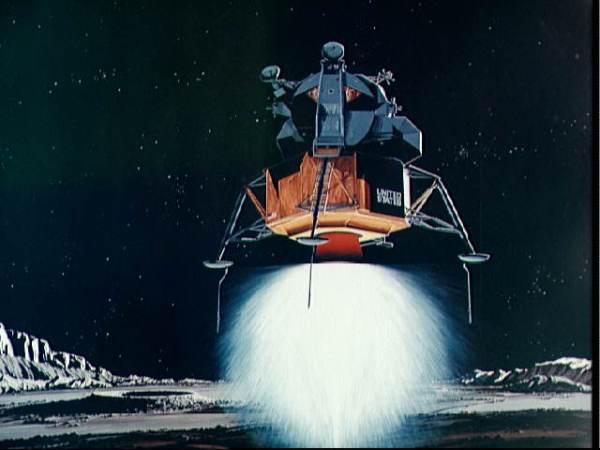 Concepção artística do LM alunissando. (Imagem: NASA)