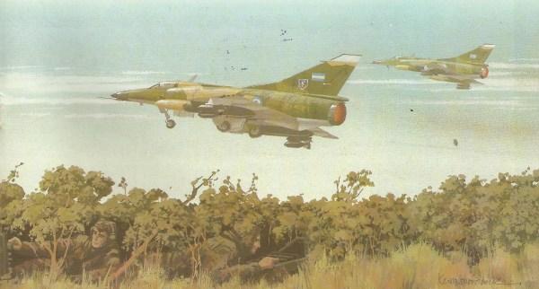 Uma equipe do SAS britânico observa dois Dagger argentinos decolarem para uma missão antinavio. Acredita-se que a Grã-Bretanha tenha infiltrado pessoal do SAS para avisar a força-tarefa quando aviões argentinos partiam de terra para atacá-la.