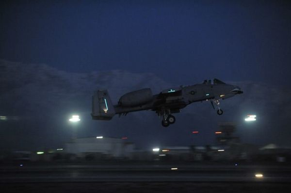 A U.S. Air Force Fairchild A-10 Thunderbolt II takes off on a nighttime mission from Bagram Airfield, Afghanistan, Feb. 11, 2014.