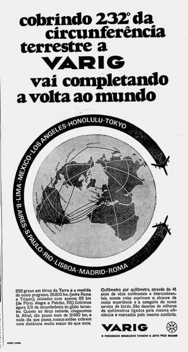 Propaganda da Varig de 1969, quando a empresa ainda mantinha o sonho da rota em redor do globo. (Diário de Notícias)