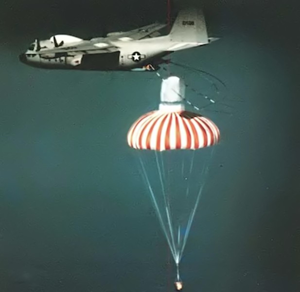 A U.S. military JC-130 aircraft retrieving a film capsule under parachute. Credit - National Reconnaissance Office