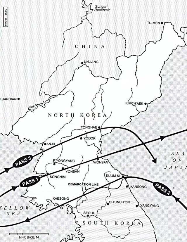 Rota da missão BX6847, na Coreia do Norte, realizada em 26 de janeiro de 1968 - CIA