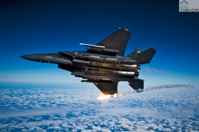 A U.S. Air Force F-15E Strike Eagle aircraft from the 335th Fighter Squadron releases flares during a local training mission over North Carolina, Dec. 17, 2010. (U.S. Air Force photo by Staff Sgt. Michael B. Keller)