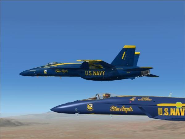 Concepção artística de dois Super Hornets nas cores dos Blue Angels.