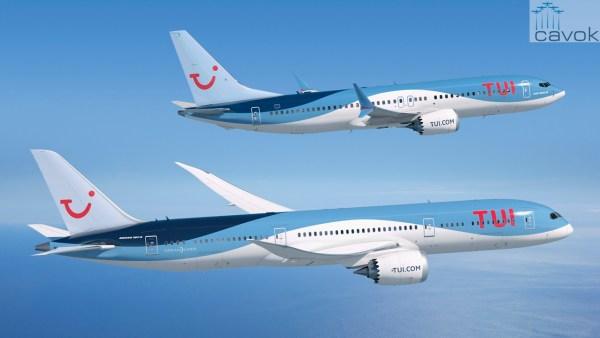 Imagem renderizada do 737 MAX e 787-9 nas cores do Grupo TUI. (Foto: Boeing)