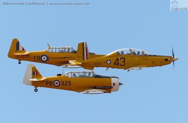 T-6s e um Texan II voando em formação. (Foto: Bernardo Malfitano / Cavok)