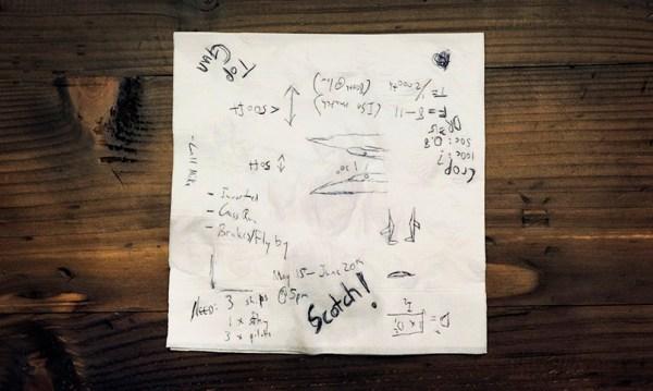 O planejamento do voo feito em um guardanapo. (Foto: Blair Bunting)