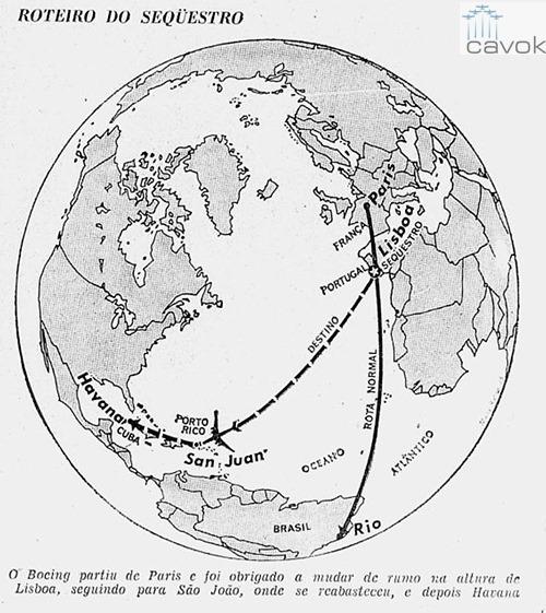 A rota do segundo sequestro para Cuba.