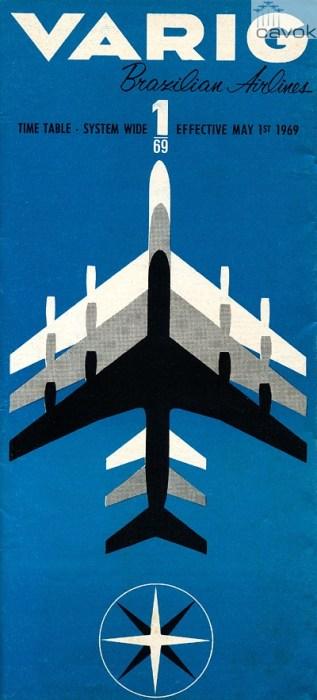 Capa do Timetable de 1969. No final de 1969 a Varig tinha nove 707 na frota, dois CV-990 e um DC-8-33.