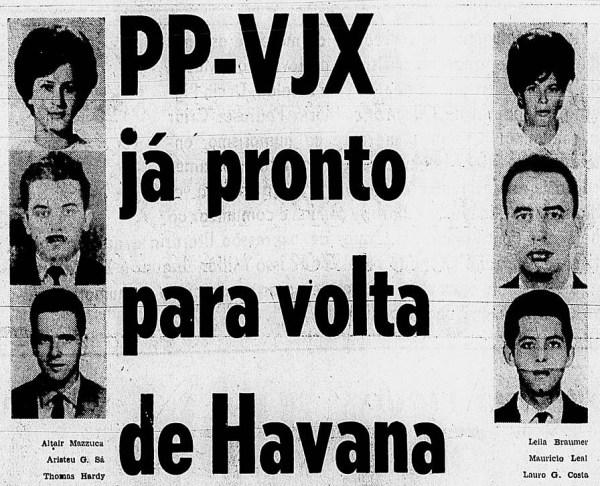 Chamada do Jornal Correio da Manhã, anunciando a volta do PP-VJX para o Rio, após o segundo sequestro. (Arquivo Marcelo Magalhães)